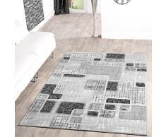 Tappeto economico Retro Design moderno soggiorno tappeto grigio nero crema screziato, Polipropilene, 120 x 170 cm
