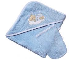 Easy Baby 360-81 - Sleeping Bear Asciugamano con cappuccio, colore: Blu