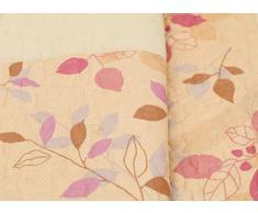 1001 Wohntraum 17jn17 Quilt Julia Ranken Foglie, 220 x 240 cm, Coperta plaid, Vintage Shabby Coperta, autunno giallo