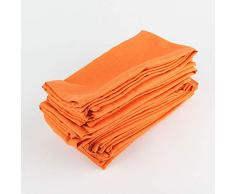 MALAT Set di 12 Pezzi Tovaglioli di Stoffa 40x40 cm Tovaglioli di Lino di Cotone Tovaglietta da tavola Morbida Tovaglioli da tavola per Bambini Tovagliolo in Tessuto, 12-CJ006-4040 Arancione