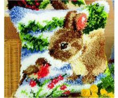 Vervaco - Cuscino tecnica ad aggancio, motivo: coniglio e pettirosso