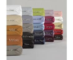 Essix Home Collection - lenzuola singolo singolo con angoli, in cotone percalle, numero fili: 80, Lino, 140 x 200 cm
