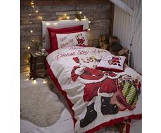 Catherine Lansfield - Biancheria da letto singolo, stile Retrò, motivo: Babbo Natale