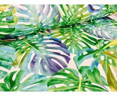 Stoffa per tende a motivo di foglie tropicali, ideale come tappezzeria, larghezza: 140 cm (prodotto venduto al metro)