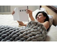 CoCo Said Coperta gigante di lana lavorata ai ferri, realizzata a mano, calda coperta per divano, decorazione per la casa, idea regalo per Natale, Grey, 48''x60''(120x150cm)