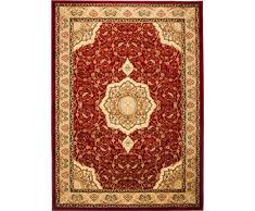 TAPISO Noble Tappeto Salotto Classico Soggiorno Rosso Orientale Tradizionale Floreale A Fiori A Pelo Corto 60 x 100 cm