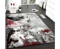 Tappeto Dal Design Moderno E Motivo Tela Effetto Mélange - Grigio, Rosso, Panna, Dimensione:80x150 cm