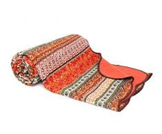"1001 Wohntraum 10265 Red Quilt Y2, ""Orient Barock"" - Trapunta patchwork vintage, 180 x 220 cm, colore rosso"