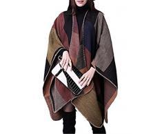 Donne Cashmere Oversize coperta Poncho Mantelle scialle Cardigan Maglione Cappotto POCH#8 Taglia unica