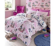 Just Contempo Set di biancheria da letto e federa copricuscino per bambini, con motivo unico e originale, topo di biblioteca, Cotone, Pink, Singolo