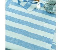 LinenMe 1-Pezzo 50 x 131 cm runner da tavolo Philippe in lino, blu