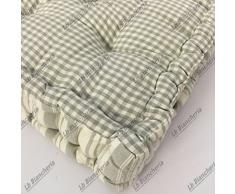 Cuscino Arredo Mattonella tipo materassino Reverso Pois- Quadretti Shabby Country chic cm 42x42x10 - Grigio