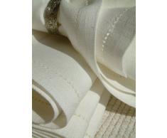 LinenMe 44 x 44 cm set di 4 asciugamani in lino con orlo a giorno, biancastro