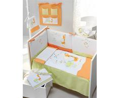 INTERBABY, Set piumone, paracolpi e cuscino per letto grande per bambini, 80 X 140 cm, 3 pz., Arancione (Orangen)