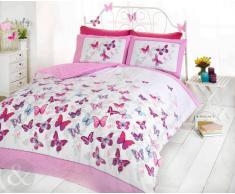 Just Contempo - Copripiumino double-face misto cotone set di biancheria da letto per bambine con motivo a pois e secondo motivo a farfalle, cotone rosa (bianco viola foglia di tè) copripiumino matrimoniale