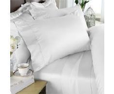 Egyptian Bedding - Set di lenzuola in cotone egiziano a 1200 fili, dimensioni super king size, colore: bianco