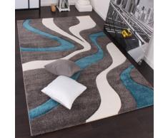 Tappeto di Design Motivo Ondulato Orlo Lavorato A Mano Colori Grigio Turchese Bianco, Dimensione:120x170 cm