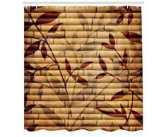 ABAKUHAUS Beige Tenda da Doccia, Il bambù Lascia Bohemian, Tessuto Set di Decorazioni per Il Bagno con Ganci, per la Vasca da Bagno, 175 cm x 220 cm, Brown Tan Beige