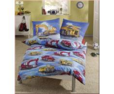 Biancheria da letto per bambini Dobnig, flanella, motivo: ruspa, Tessuto, blu, 135 x 200