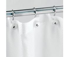 iDesign Ganci per tende, Ganci tenda doccia dal design moderno in metallo e plastica, Set da 12 reggitenda doccia, bianco e argento