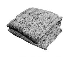 Russo Tessuti Plaid Coperta Maglia Trecce Intrecciato Trow Blanket WUL Vivy Victoria 200x220cm-Grigio