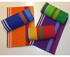 SpazioTessile Set 9 Strofinacci Asciugapiatti 50x70 Multicolore Tinti in Filo 100% Cotone Klut