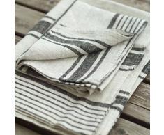 LinenMe asciugamano da bagno in lino Provance, nero, 100cmx145cm