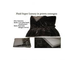 Luxury Cloe-Plaid 100% CASHMERE doppiato PELLICCIA con bordo PELLE