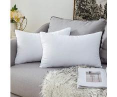MIULEE 2 Pezzi Cuscino 30x50cm Imbottitura Cuscini per Divano Cameretta Bambino Salotto per Federe dei Cuscini Leggero Soffice Arredo Bianco