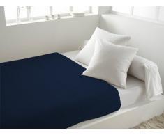 Lenzuolo piano in cotone 240 x 290 cm tinta unita blu marino