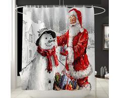 Koojawind Set Di Tappeti Per Tende Da Bagno, Tappetino Da Bagno Con Stampa Di Babbo Natale E Tenda Da Doccia Tenda Da Doccia Impermeabile Antiscivolo Di Natale
