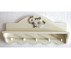 mensola da muro decoro margherita con ganci asciughino
