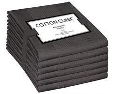 Clinica di Cotone Set di 6 Strofinacci, Lavabili in Lavatrice Strofinacci Cucina Cotone, Strofinacci Asciugapiatti Assorbenti - 40 x 70 cm Grigio