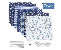 Tessuto Cotone per cucire 7 PCS, Blu Stoffa patchwork a metro quadrati per scrapbooking fai da te creativo, floreale fogli di tessuti materiale con striscia clip di ponte di naso di corda elastica