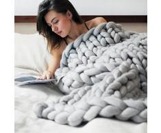 Coperte a Maglia WINOMO Coperta del divano in lana grossa del Crochet (Grigio)
