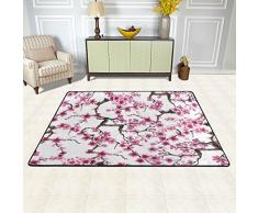 Naanle Giappone giapponese tappeto antiscivolo per per camera da letto, soggiorno, cucina 50 x 80 cm (1.7 'x 2.6' ft), tradizionale fiore Sakura Cherry Blossom nursery tappeto pavimento tappetino yoga, Multi, 120 x 180 cm(4' x 6')