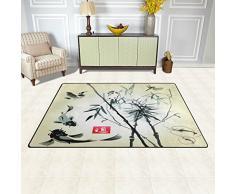 Naanle tradizionale giapponese pittura tappeto antiscivolo per per camera da letto, soggiorno, cucina 50 x 80 cm (1.7 'x 2.6' ft), bambù e carpa Koi Fish nursery tappeto pavimento tappetino yoga, Multi, 100 x 150 cm(3' x 5')