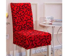 UEB Coprisedie con Schienale Elastico Stampa Vestisedia Moderno Fodera per Sedie Copertura della Sedia per Protezione Sedia per Soggiorno, Hotel,Sala da Pranzo (Rosso)