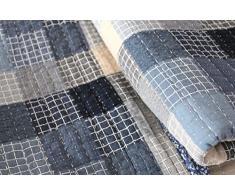 1001 soggiorni sogno 15J14 Quilt Janina a quadri Vintage Copriletto Shabby Chic design patchwork coperta, 180 x 200 cm, Blu/Grigio