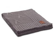 Knit Factory 1101129 – Coperta lavorata a maglia Plaid Aran, 130 x 160 cm, Tortora