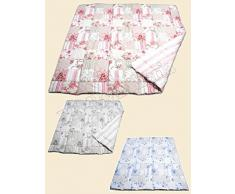 """Lovely Home - Trapunta Invernale Piumone letto Matrimoniale 2 Piazze In Microfibra """"Cles"""" Patchwork Floreale, AZZURRO"""