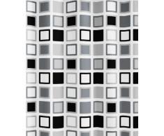 Kleine Wolke - Tenda da doccia, design a quadrati (clipper), impermeabile, realizzata in PEVA, dimensioni: larghezza 180 cm x lunghezza 200 cm, colore: Nero/Grigio/Bianco