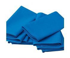 Linenme - Tovaglioli in cotone e lino Paula, 49 x 49 cm, 8 pz, colore azzurro