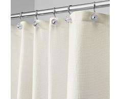 InterDesign Carlton Tenda vasca da bagno con asole, Tende doccia tessuto idrorepellente in poliestere a nido dape di dimensioni 180,0 cm x 200,0 cm, beige