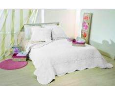 Linder Lutèce 5010 /10/835/250 - Copriletto matrimoniale Boutis, in cotone, con 2 federe per cuscini, colore: bianco, dimensioni: 260 x 250 cm