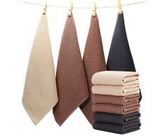EliteBond Set di strofinacci da cucina in cotone per la pulizia e l'asciugatura delle stoviglie, 33 x 33 cm