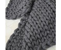 Knitting Wool Blanket Handmade Knitted, SOMESUN 100 * 120cm mano Chunky coperta a maglia spessa lana ingombranti Knitting tiro (Dark Gray)