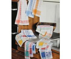 Betz. Set di asciugapiatti con il motivo Jacquard Galline strofinaccio canovaccio la misura 50 x 70 cm, colore: blu, giallo, rosso