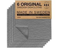 SUPERSCANDI - Strofinacci svedesi ecologici, riutilizzabili, sostenibili, biodegradabili, Confezione da 6, Colore Grigio.