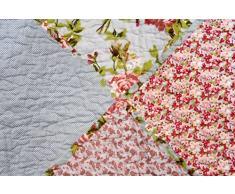 1001 Wohntraum 15j10 – 2 – Alexa fiori Vintage Copriletto Shabby Chic Design Patchwork coperta, bunt, 180 x 220 cm